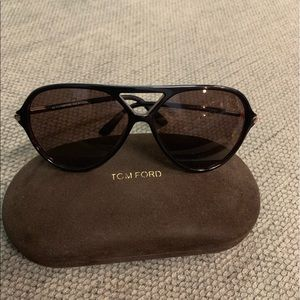 Tom Ford Leopold Brown Aviators Unisex